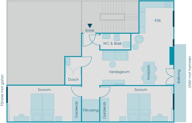 Lägenhetens planlösning perfekt för dig och din familj som vill hyra lägenhet i Nice.